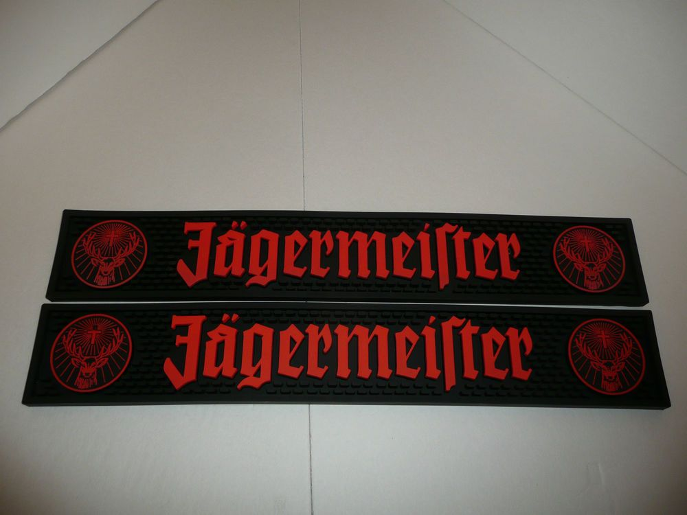 Lot Of 2 Black And Orange Jagermeister Bar Spill Mats Jager Stag