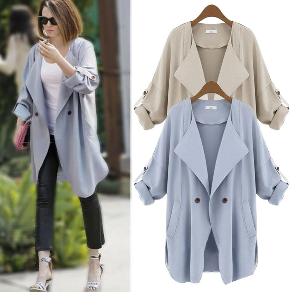 Damen Trench Coats Lang Lose Jacken Tops Overcoat Blazer D眉