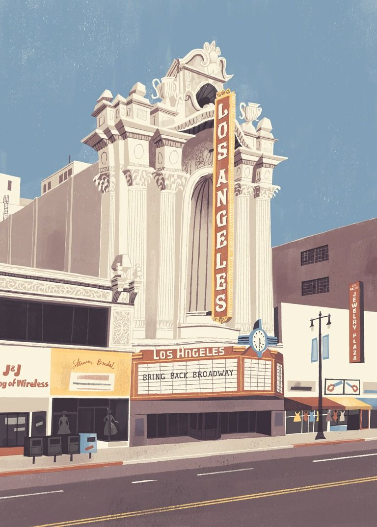 Los Angeles Theater Built In 1931 The Los Angeles Theater Was The Last Of The Great Movie Theaters To Open Up In Downtown La During The Heyday Of Th イラスト 插画 画
