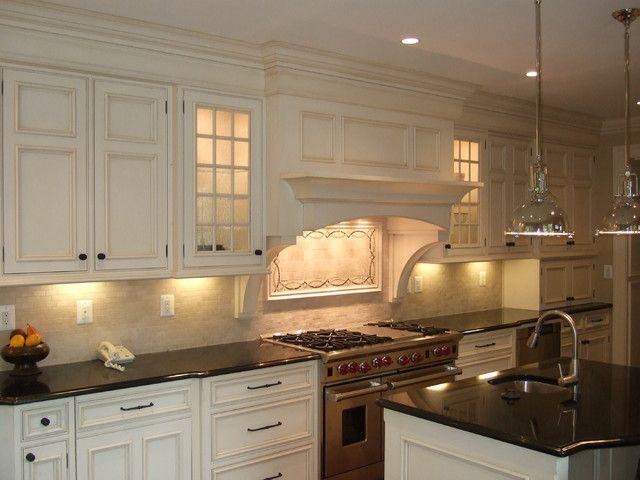 kitchen range mantle | traditional kitchen wolf hood vent cabinet ...