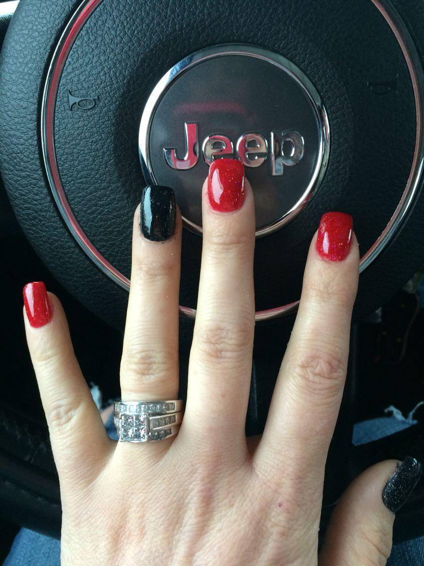 Black And Red Anc Nails Red Shellac Nails Red Nails Glitter Black Shellac Nails