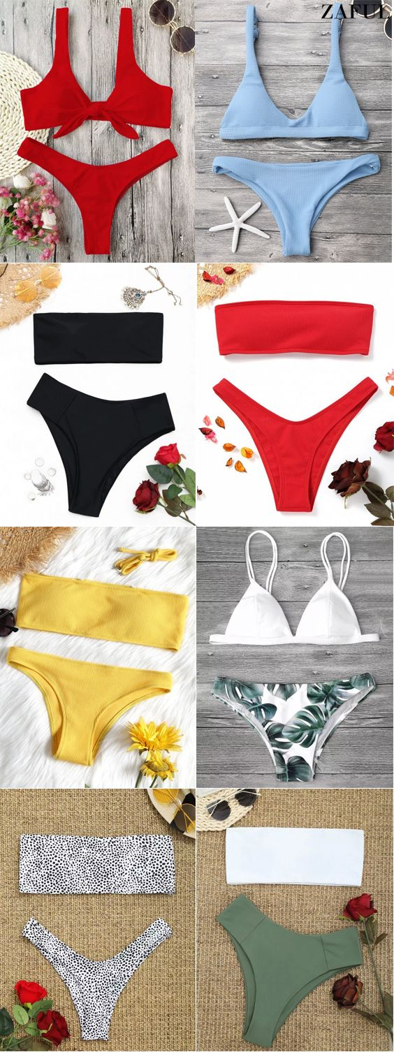 8292a4fb8c Bandeau Top And High Waisted Slip Bikini Bottoms. #Zaful #Swimwear #Bikinis  zaful,zaful outfits,zaful dresses,spring outfits,summer  dresses,easter,super ...