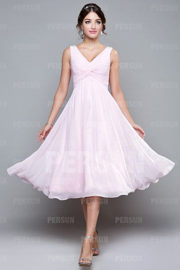 Robe mi longue plissée à encolure V en mousseline pour mariage ... 41efde346bc5