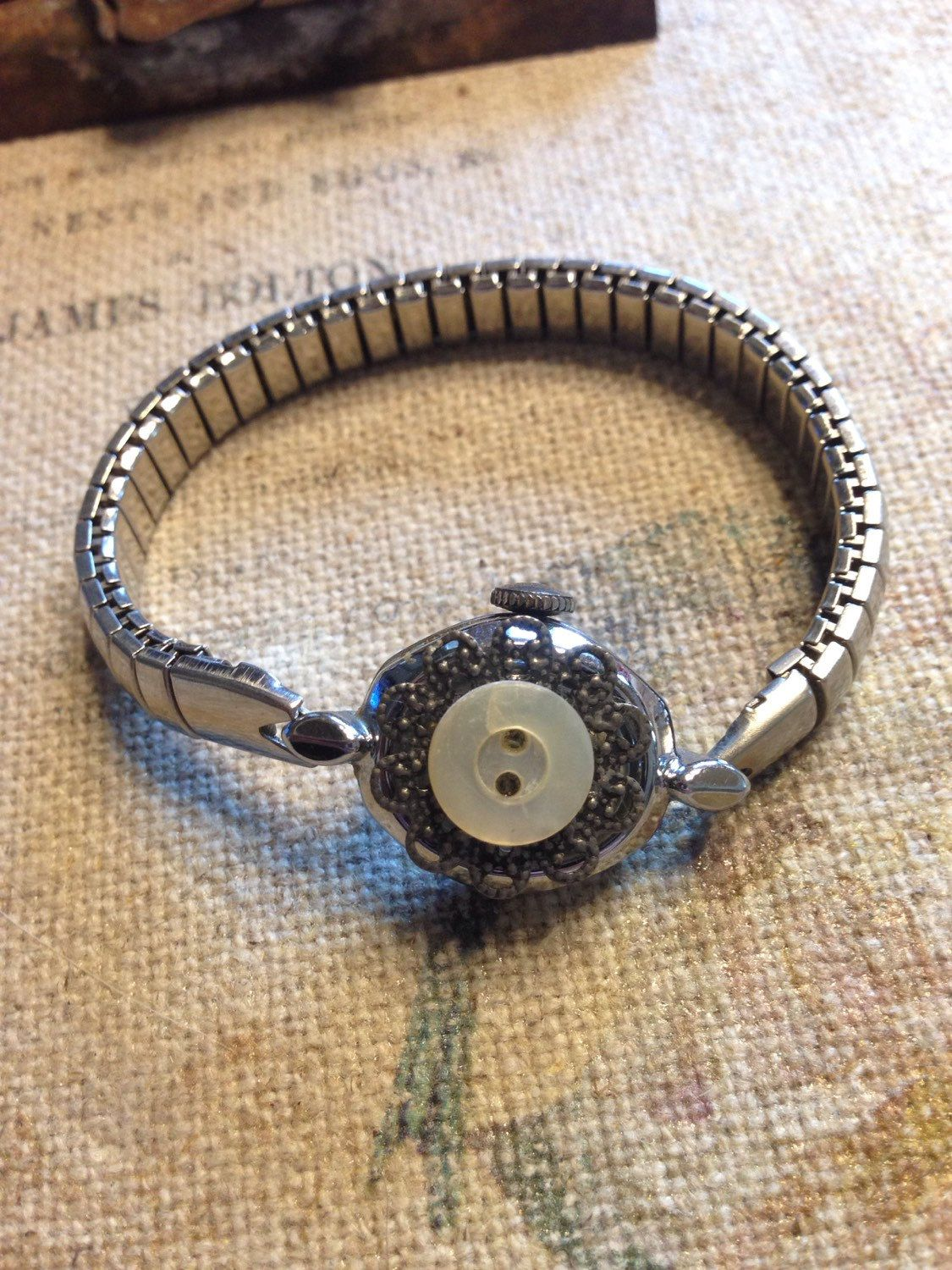 Vintages ladies' watch bracelet by lovelostcreations on Etsy https://www.etsy.com/listing/235955438/vintages-ladies-watch-bracelet