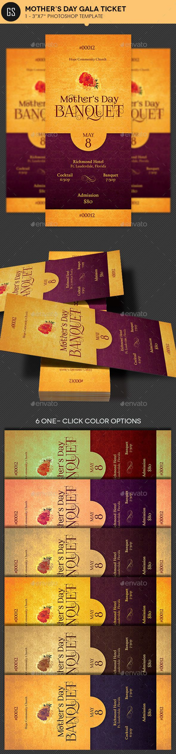 Mothers Day Gala Ticket Photoshop Template