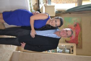 This is my brother, Kenny and his wife, Isabel, in their beautiful Houston home right before her birthday party.   Jimmy Choo Caper