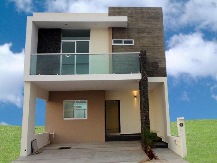 Fachadas casas minimalistas dos plantas con balcon for Fachadas duplex minimalistas