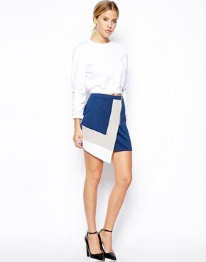 ASOS Wrap Skirt In Textured Colour Block