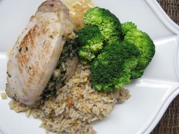 Spinach And Goat Cheese Stuffed Pork Chops - 3 of my favorite foods all crammed into one, awesome!