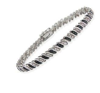 $39.99 - Black Diamond Accent San Marco Bracelet in Sterling Silver