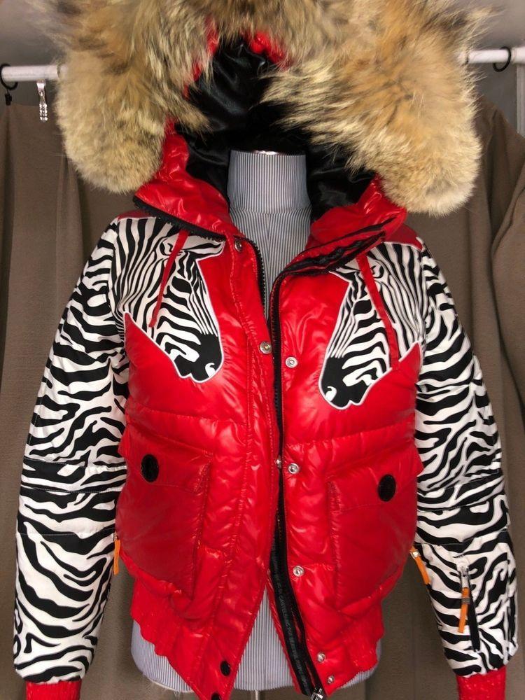 e2c87867a275 JC de Castelbajac Rossignol ASNEW red zebra print real fur collar jacket  $2000 M #JCdeCastelbajacRossignol #skijacket #versatile