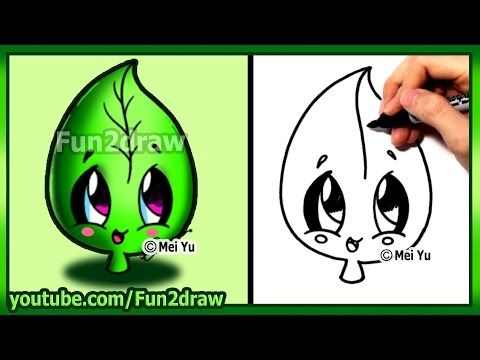 How to Draw Cute Easy - Leaf Earth Day - Fun2draw - YouTube
