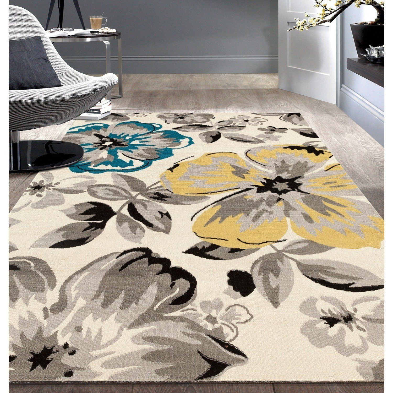 Nandt 1 Piece 5 X 7 Beige Blue Yellow Black Floral Flowers Circles