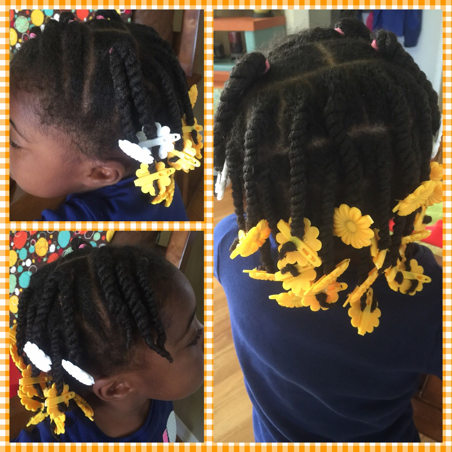 Little Girl Natural Hair Protective Style Twists Ponies And