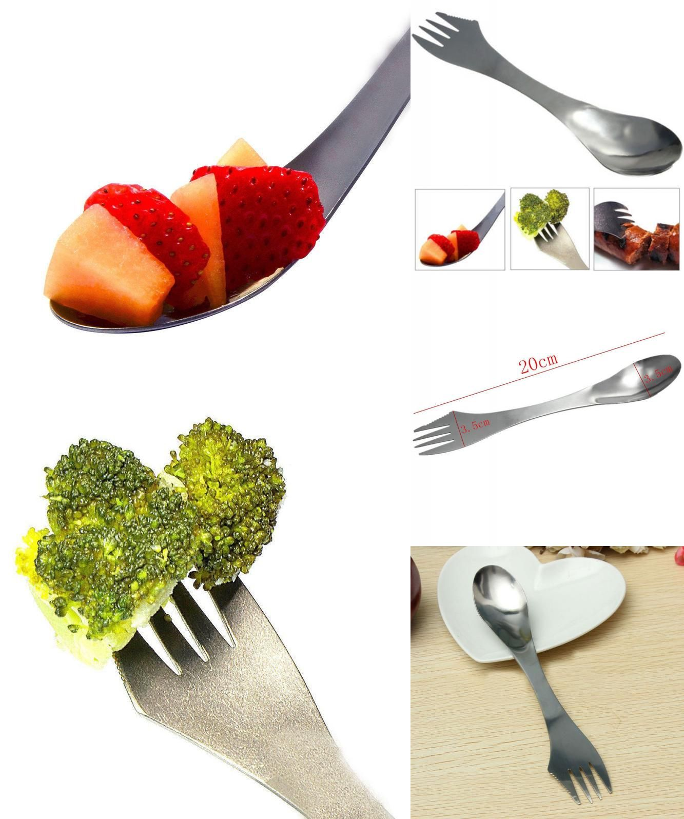 3 in 1 Outdoor Picnic Gadget Spork Spoon Fork Cutlery Utensil Combo Camping Tool