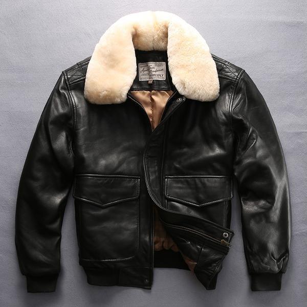 4e80bc59050 Avirex fly air force flight jacket fur collar genuine leather jacket men  black sheepskin coat winter bomber jacket male