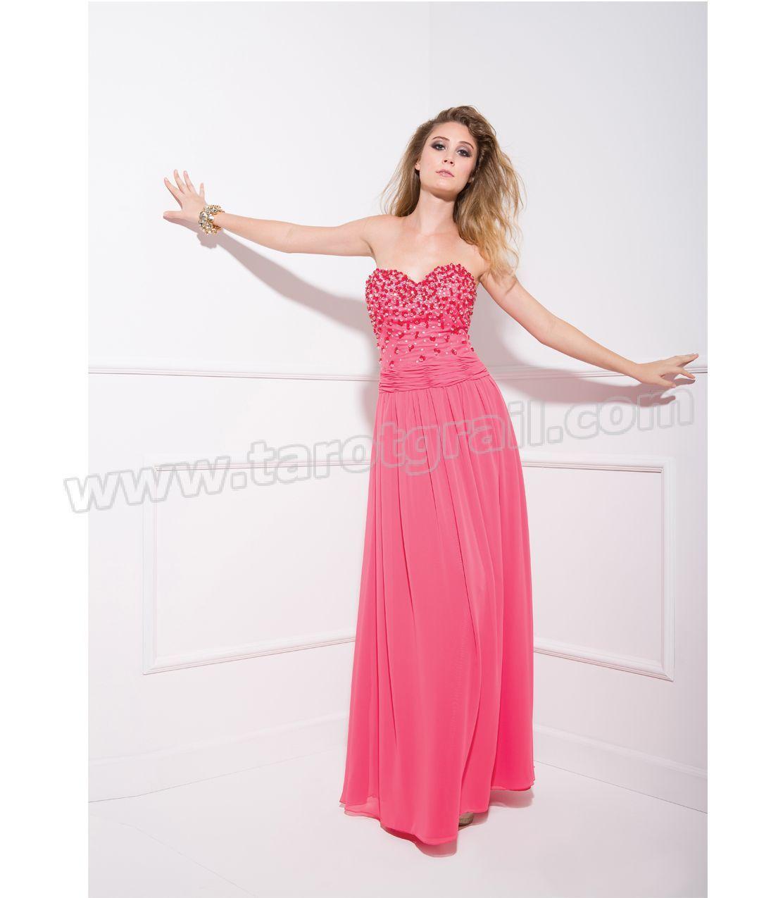 Watermelon Beaded Chiffon Prom Dress | Long Prom Dresses | Pinterest