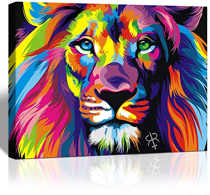Amazon Com Purple Verbena Art Abstract Colorful Painting Lion Picture Canvas Print Wall Art Modern Decor De Colorful Lion Painting Lion Painting Colorful Lion