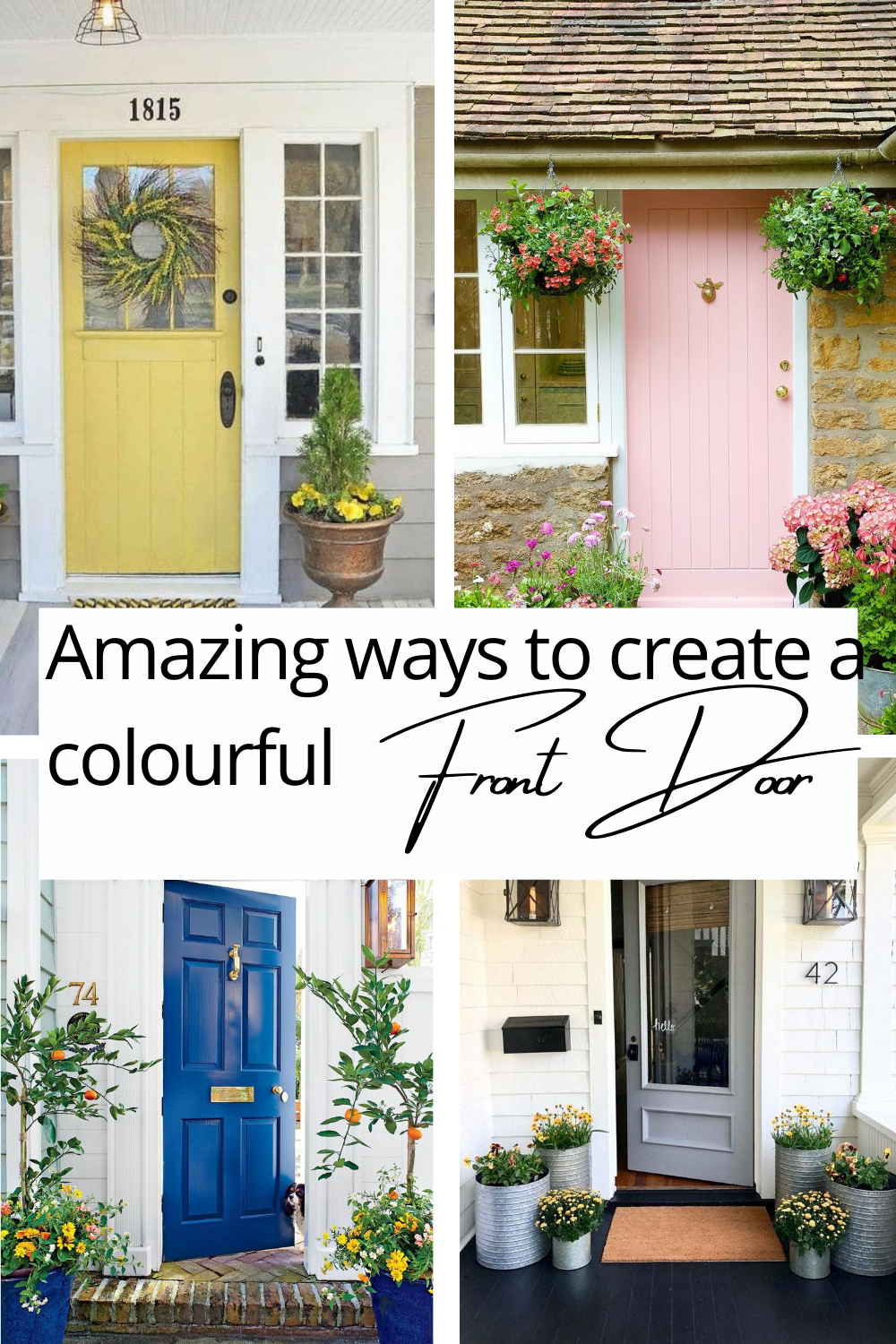 Looking for a way to freshen up your home? Why not start with adding some #frontdoordecor. From #royalblue to #prettypink you will be able to transform your home by painting your front door in a way that makes a #statement. #front door decor #front porches ideas #decorative door ideas #pretty front doors #paint front door #front door entrance ideas