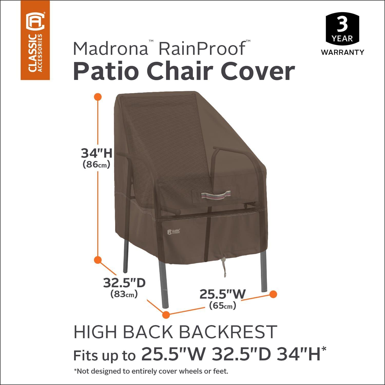 Rainproof Patio Furniture.Classic Accessories Madrona Rainproof High Back Patio Chair Cover