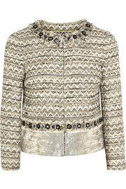 Tory BurchVanessa leather-paneled tweed jacket