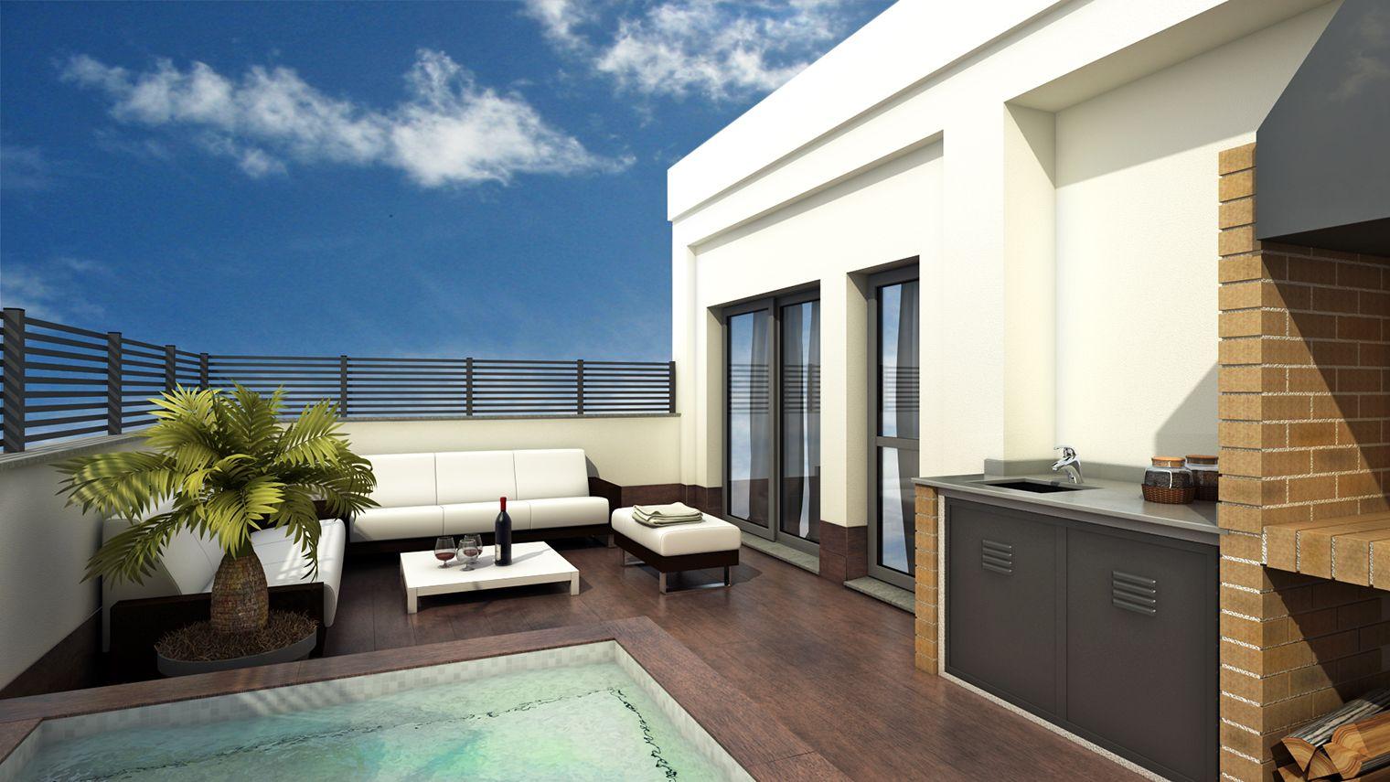 Infograf a 3d en gandia reforma terraza tico terrazas for Terrazas minimalistas fotos