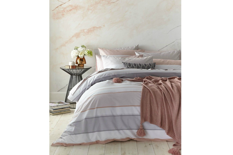 Catherine Lansfield Newquay Blush Stripe Duvet Sets