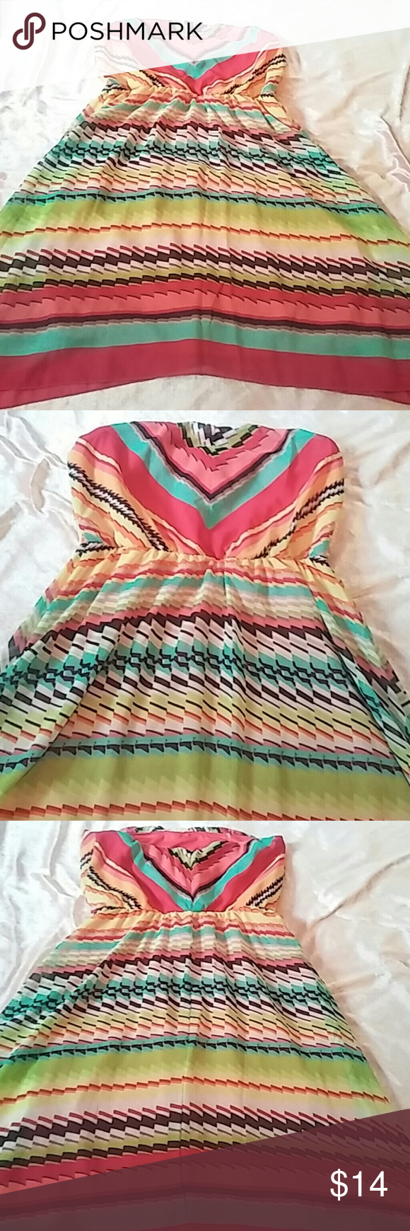 "Nwt- adorable stripe dress- size 7 Jrs Nwt- bright, jagged stripes, strapless dress. Chevron design on chest and top back. Jagged hemline. Elastic around waist. Tag says 7 jr will fit misses small. 27"" long. Ruby Rox Dresses"