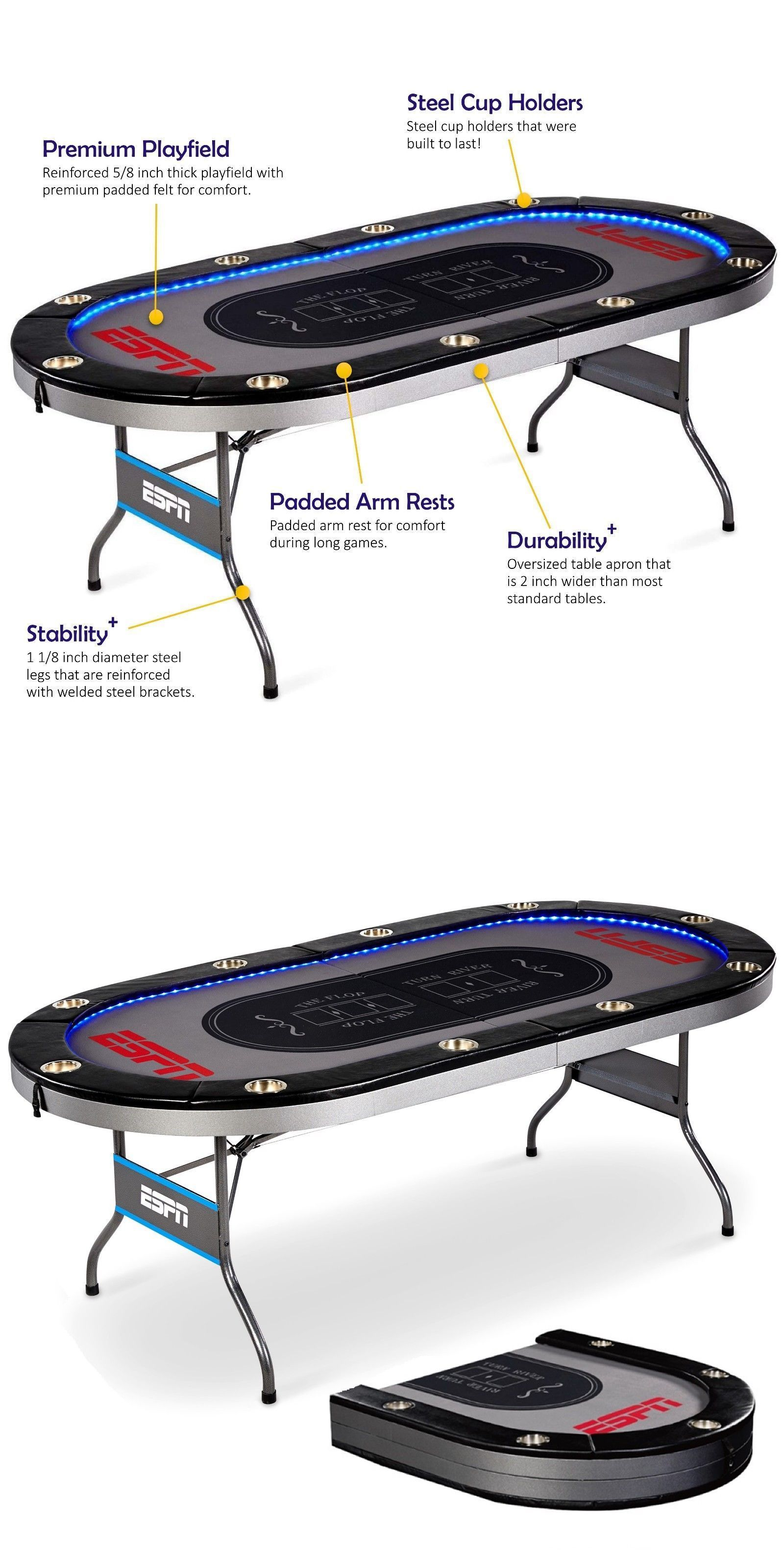 Card Tables And Tabletops 166572 Espn Premium 10 Player Poker Table Layout Card Positions Led Lights Foldable New Buy It Now O Poker Table Table Led Lights