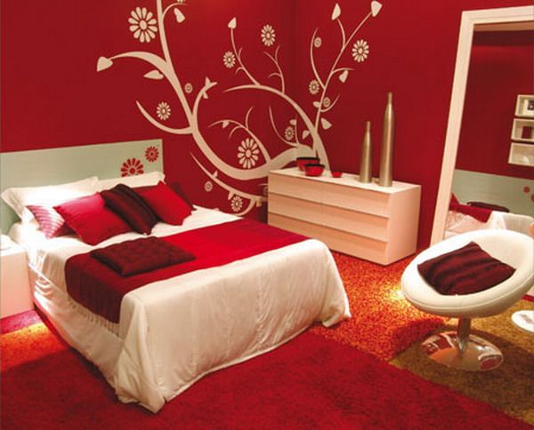 red bedroom color schemes i love the print on the back wall - Bedroom Color Theme