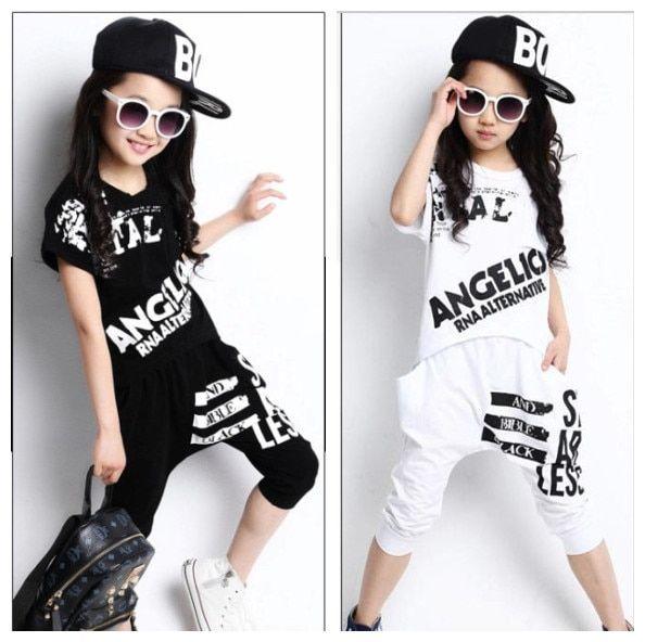 eb69743e6 Girls Clothing Sets Summer 2018 Boys Girls Short Sleeve T-shirt & Harem Pants  2 Pcs Jazz Dance Set Kids Girls Hip Hop Costume