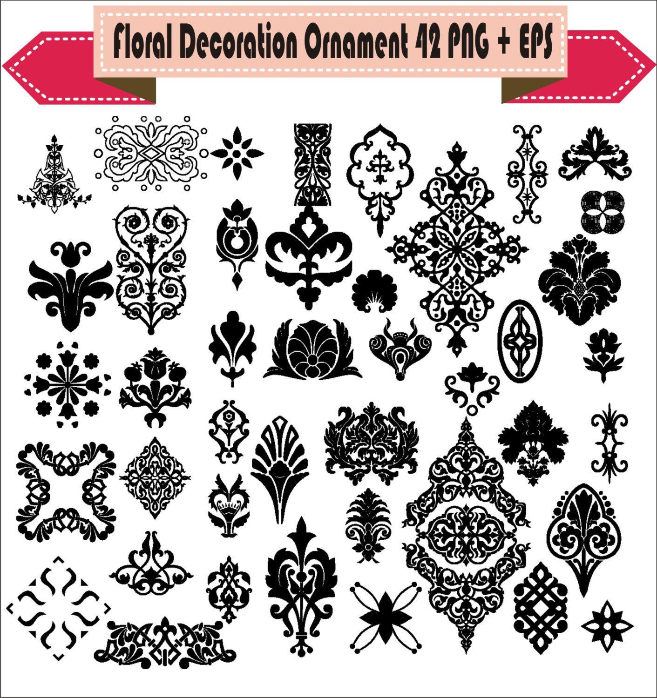 Decoration Victorian Ornamental Floral Corner Border Retro Vector Clipart PNG EPS Digital Files Scrapbook Supplies Clip