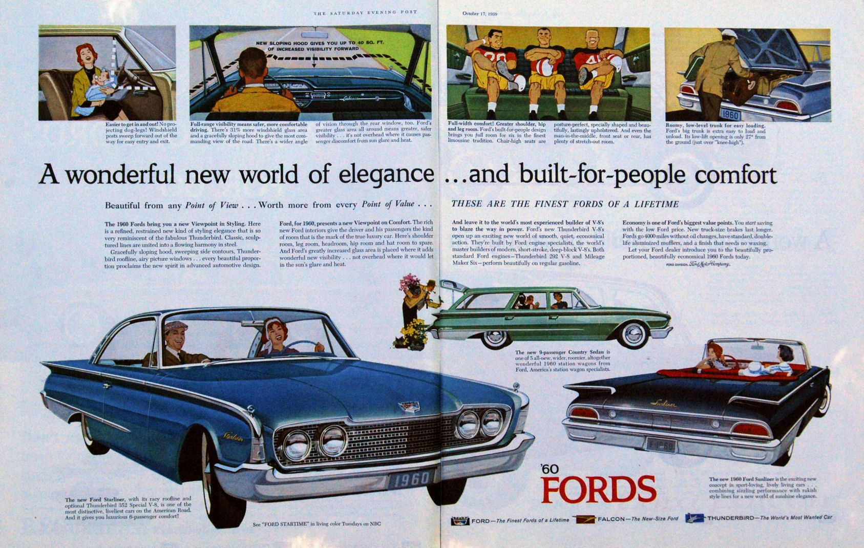 Vintage 1960 Ford Car Ad Classic Chevy Trucks Automobile