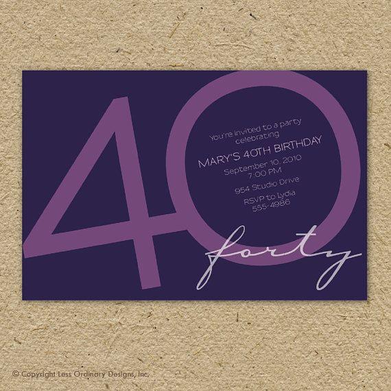 40th Birthday Party Invitation Fortieth Custom Modern Age