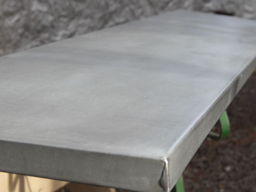 Aged zinc veneer table top rest ideas pinterest for Zinc countertop cost