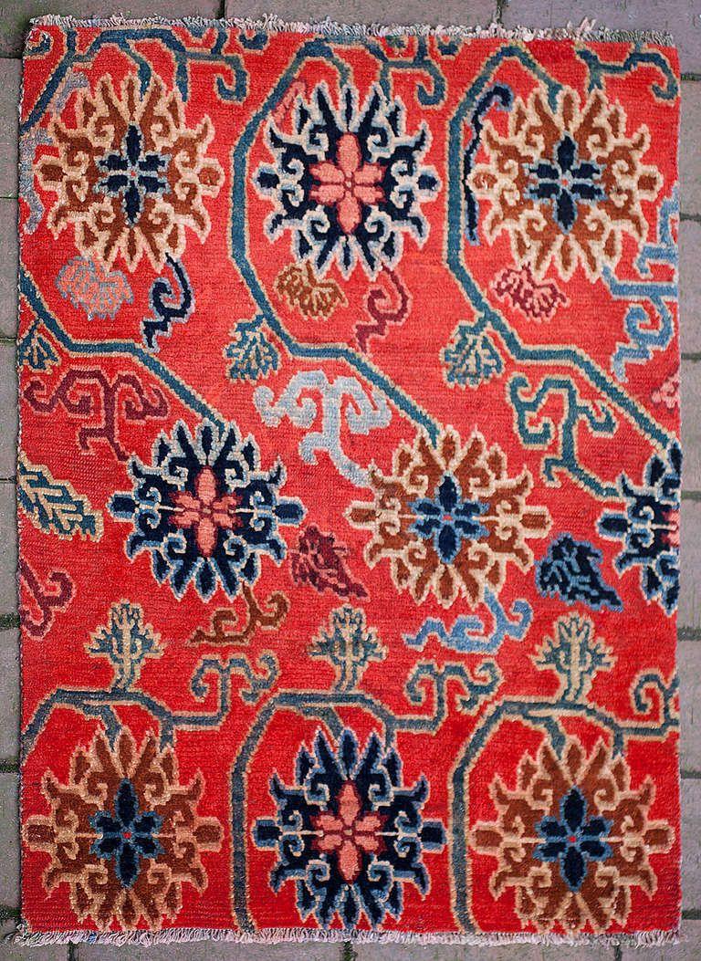 Elegant Antique Tibetan Lotus Flower Design Rug for Aladdin Carpet Design  103wja