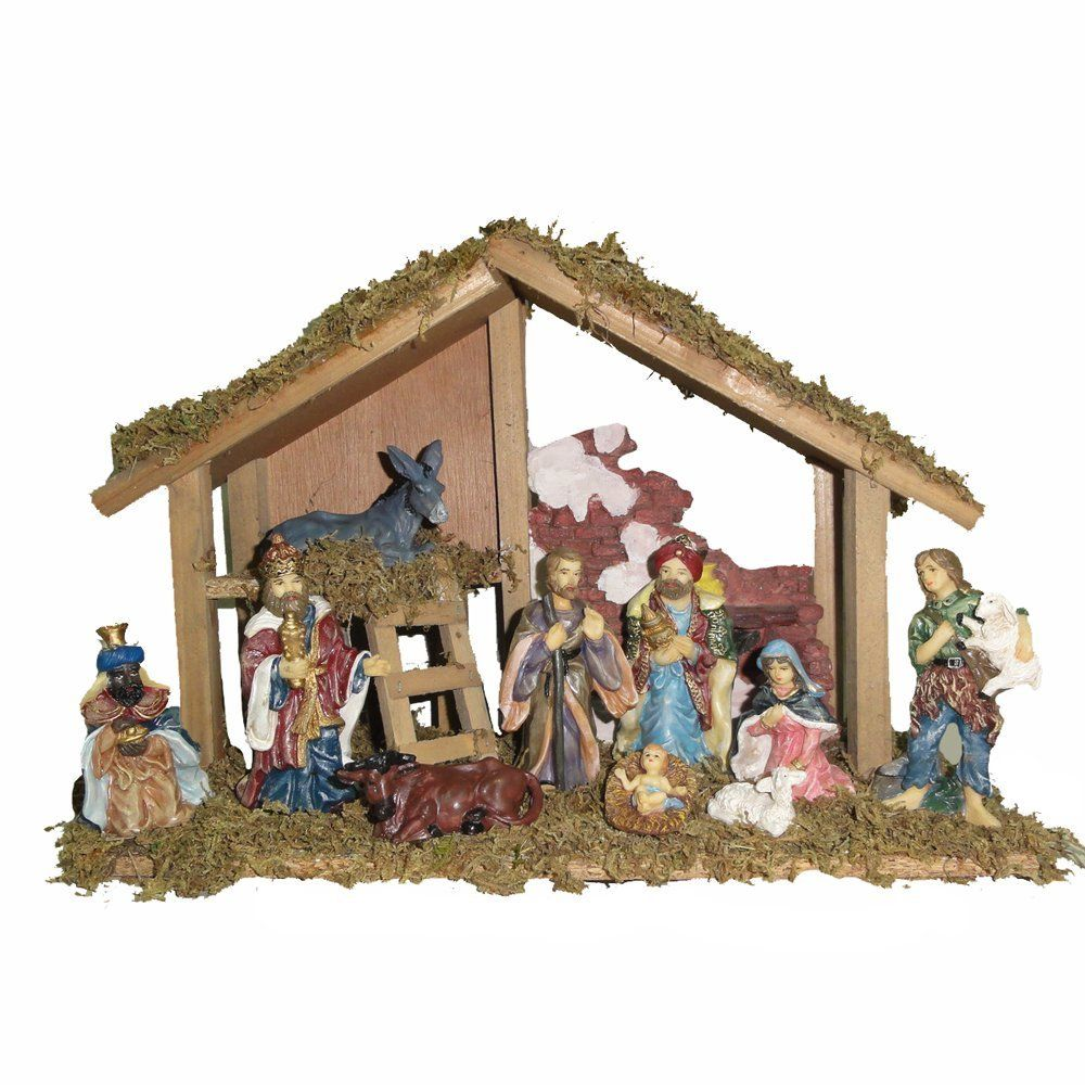 Amazon.com: Kurt Adler Wooden Stable With 10 Resin Figures Nativity Set:  Home