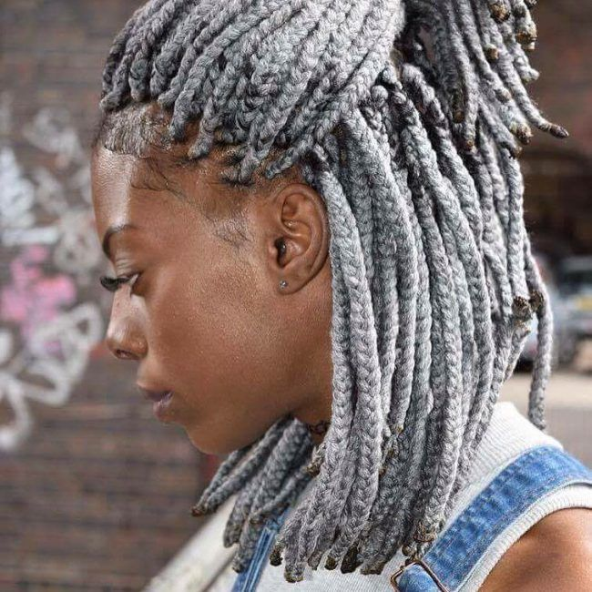 Silver Grey Twists Hair Styles Yarn Braids Styles Yarn
