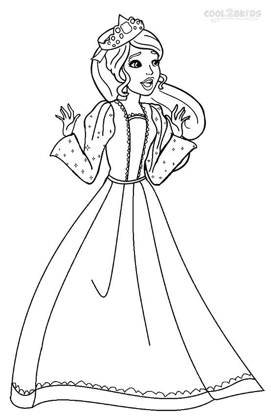 Printable Barbie Princess Coloring Pages For Kids ... Barbie Doll Coloring Pages For Kids