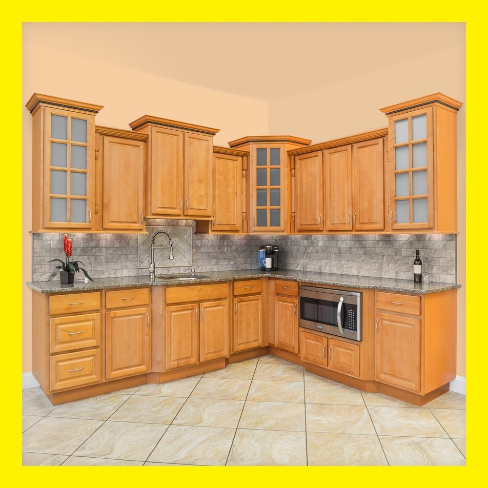Details About 90 Kitchen Cabinets Richmond All Wood Honey Stained