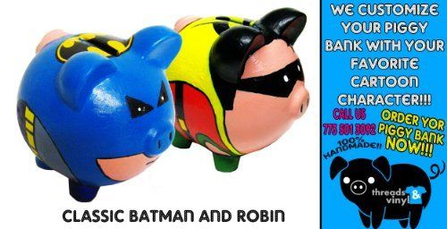 Classic Batman And Robin Piggy Bank Dc Comics Dark Night Ceramic Coin Room  Decoration NEW Hero