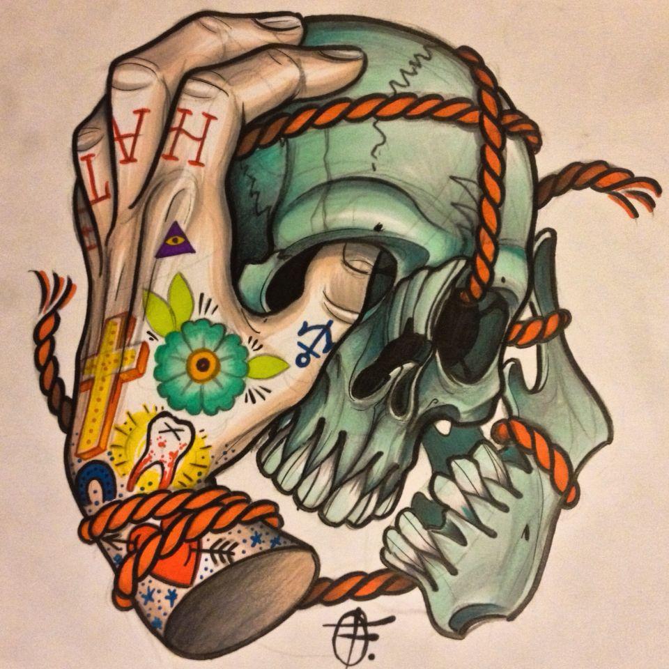 Skull hand tattoo sketch