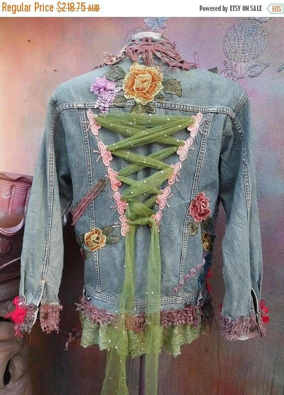 Wildskin, woodland, hippy, bohemian, gothic,denim, gothic jacket, jacket, coat, shabby, tattered, tie dye, gypsy, medium to 40″ bust