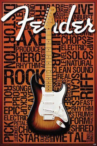 Fender Music Words Poster 24x36 Collage Strat Guitar 241279 Word Poster Music Poster Poster Frame