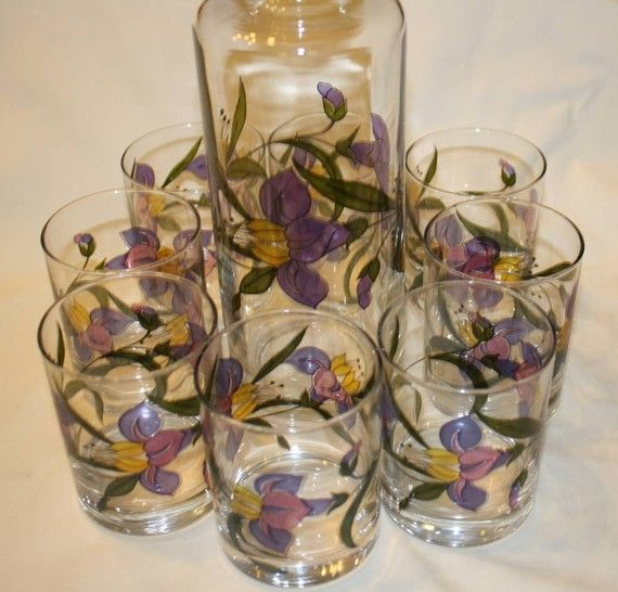 Hand Painted Decanter Set with 8 Matching Glasses by vicandjulie, $28.00