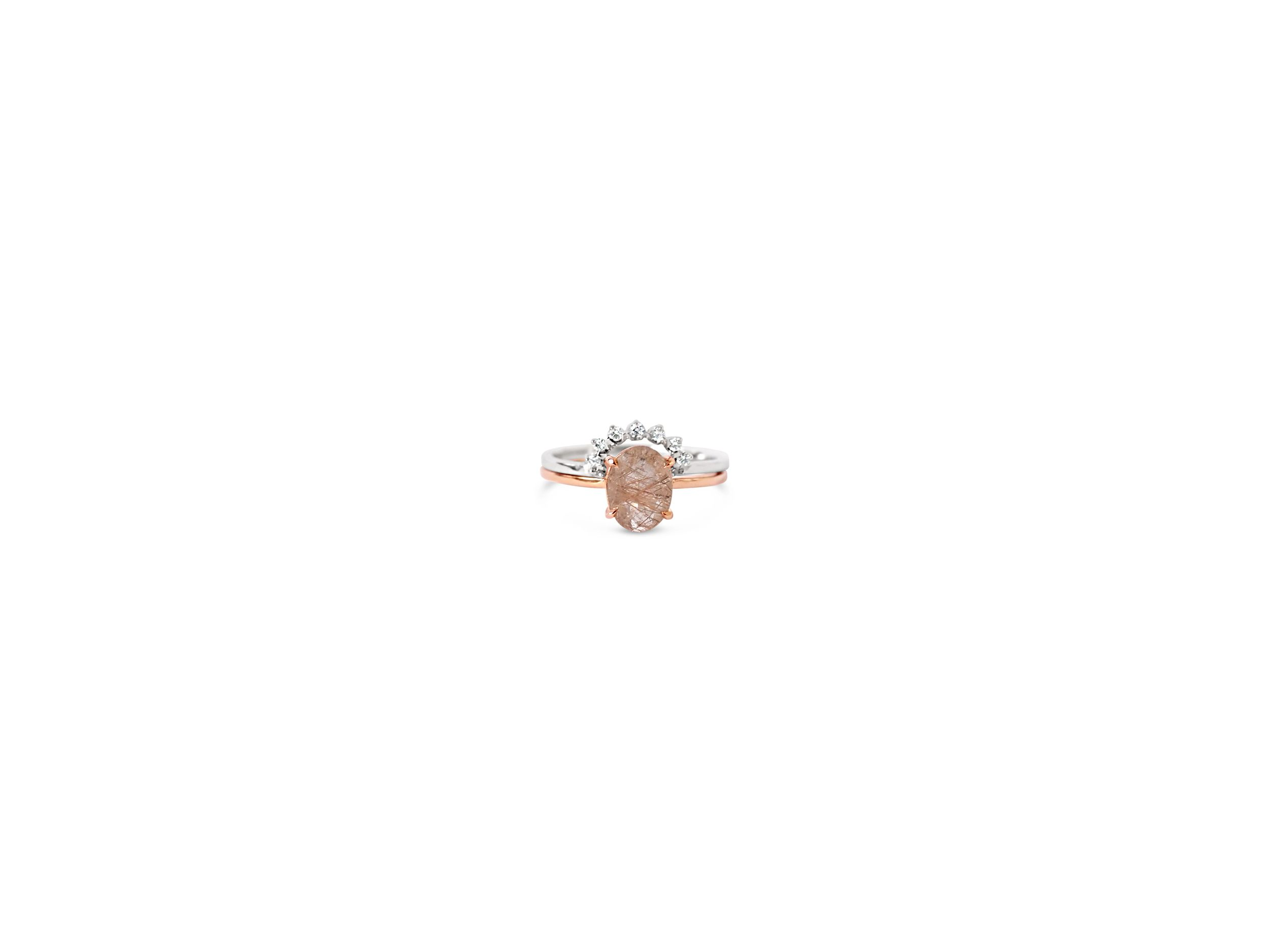 Oval quartz with crown Ring Natalie Marie Jewellery Oval cut