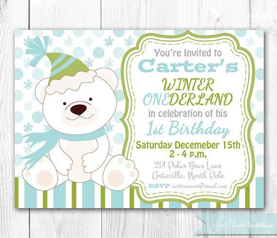 Polar Bear Birthday Invitation Blue Winter Onederland Party