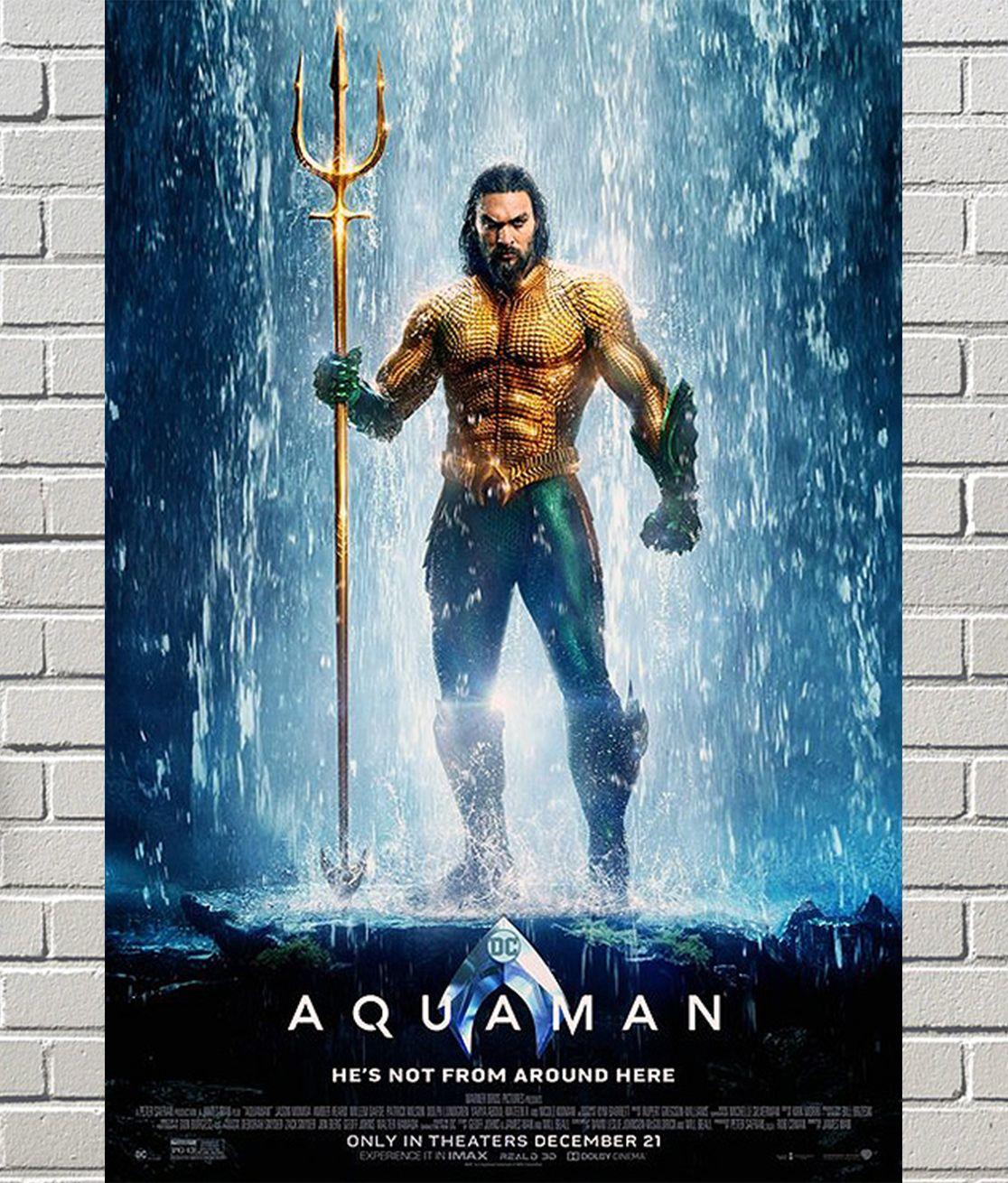 Original Jason Momoa Aquaman Movie Poster Aquaman Film Aquaman Aquaman 2018