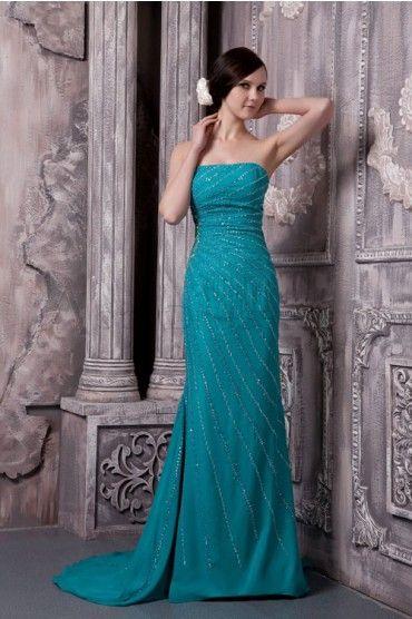 Noble Strapless Sleeveless Chiffon Evening Dresses
