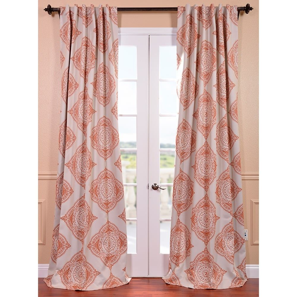 This Henna Curtain Panel Features A Blackout Design With A Lovely Beige Burnt Orange Pattern